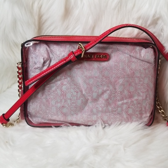 Michael Kors Handbags - NWT MICHAEL KORS LARGE EAST WEST CLEAR RED XBODY